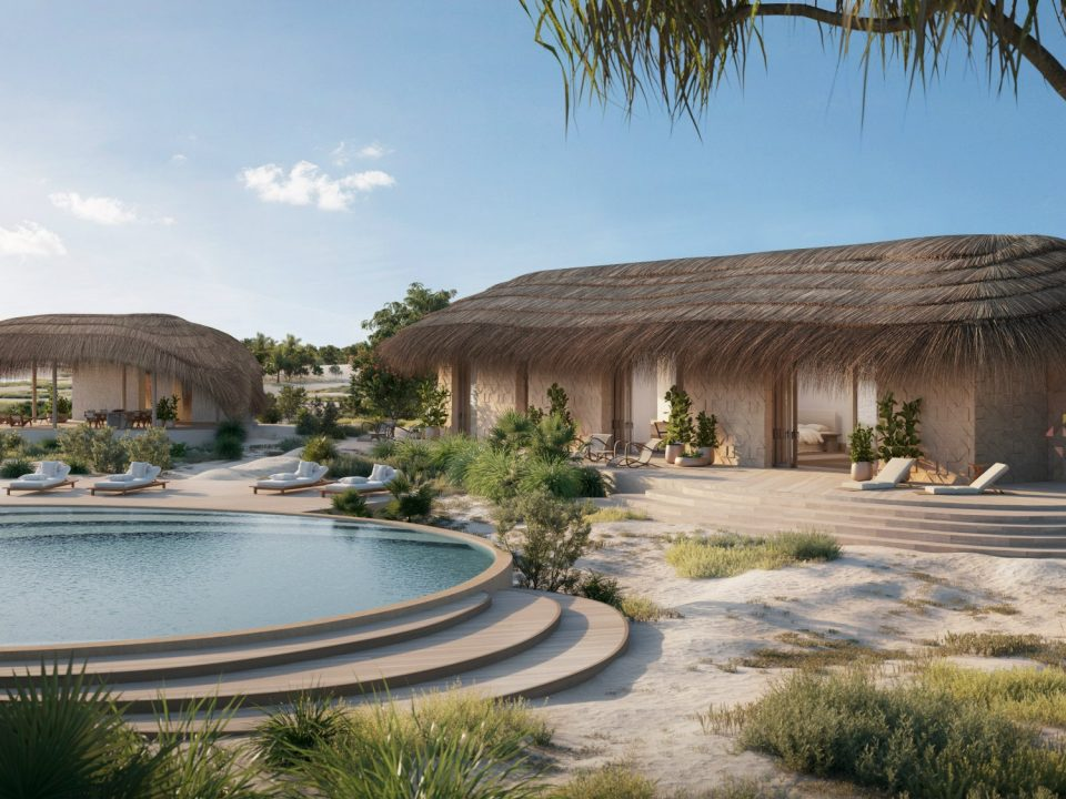 A bungalow at Kisawa, which will open on an island off the coast of Mozambique.Image: Courtesy of Kisawa / Renders by The Boundary